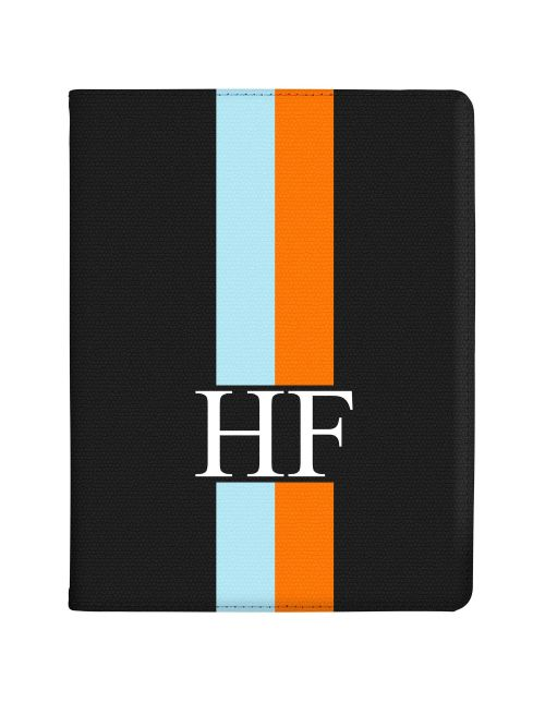 Orange And Blue Racing Stripes tablet case available for all major manufacturers including Apple, Samsung & Sony