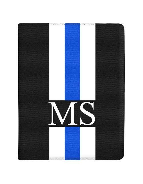 White And Blue Racing Stripes tablet case available for all major manufacturers including Apple, Samsung & Sony