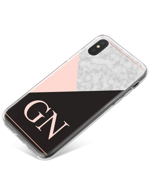 White Marble with Pink & Black Triangles phone case available for all major manufacturers including Apple, Samsung & Sony