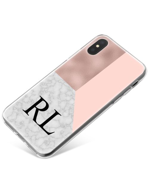 White Marble with Pink Triangles phone case available for all major manufacturers including Apple, Samsung & Sony
