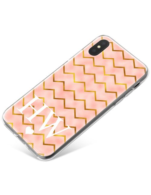 Gold Zigzag pattern on pink Marble phone case available for all major manufacturers including Apple, Samsung & Sony