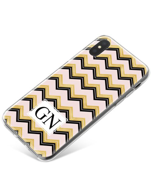Gold & Black Zigzag pattern on pink Marble phone case available for all major manufacturers including Apple, Samsung & Sony