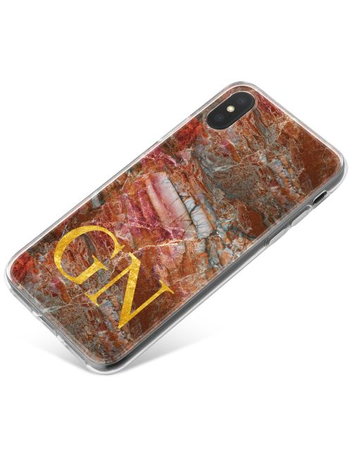 Cracked red and grey marble phone case available for all major manufacturers including Apple, Samsung & Sony