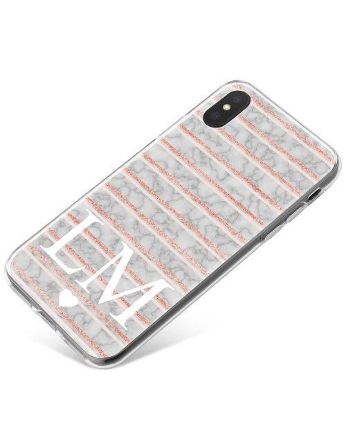 Pink Lines on grey marble phone case available for all major manufacturers including Apple, Samsung & Sony