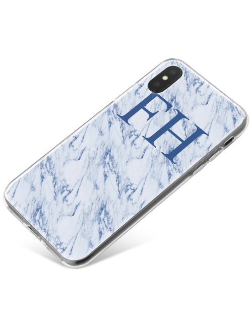 White & Blue marble phone case available for all major manufacturers including Apple, Samsung & Sony