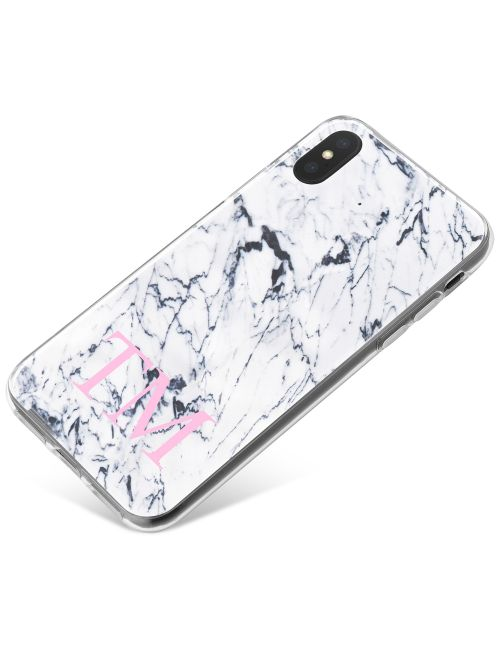 White & Dark Grey Marble phone case available for all major manufacturers including Apple, Samsung & Sony