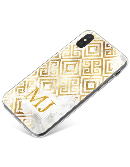 Gold Pattern on white marble phone case available for all major manufacturers including Apple, Samsung & Sony