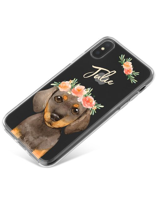 Daschund with Flowers phone case available for all major manufacturers including Apple, Samsung & Sony