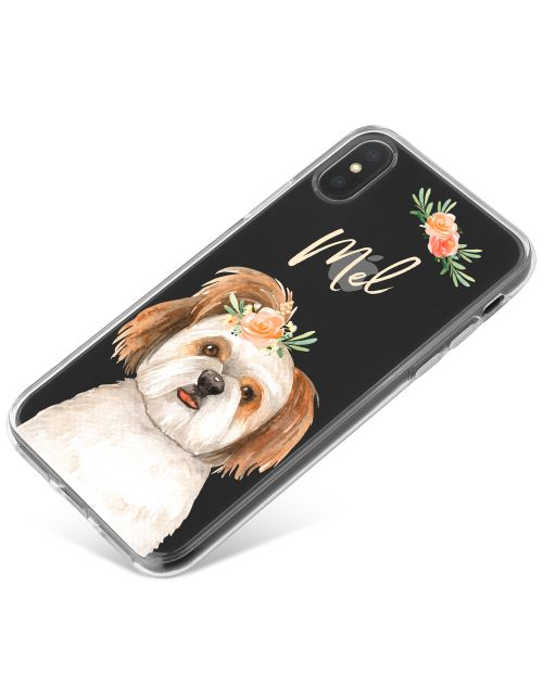 Terrier with Flowers phone case available for all major manufacturers including Apple, Samsung & Sony