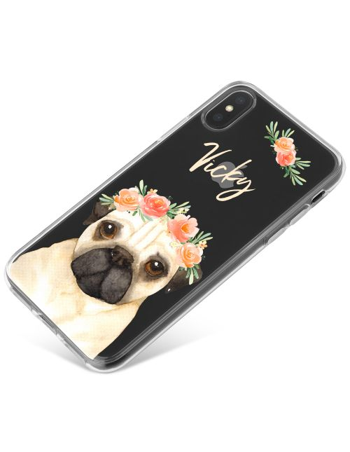 Pug with Flowers phone case available for all major manufacturers including Apple, Samsung & Sony