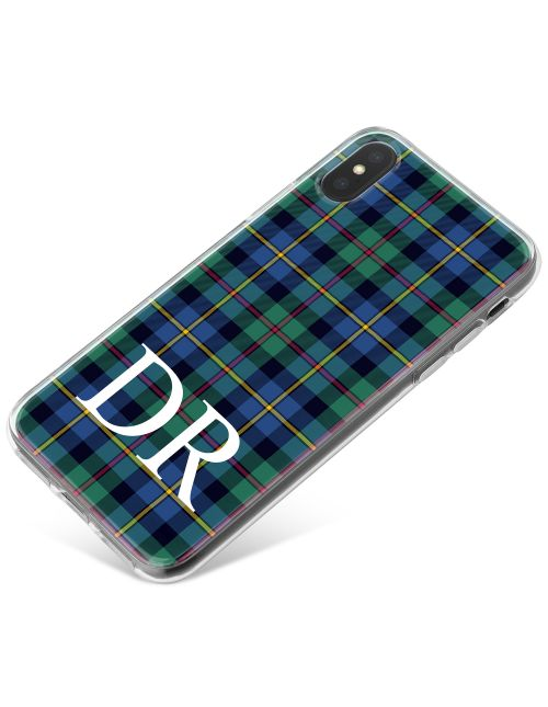 Blue and Green Tartan Pattern phone case available for all major manufacturers including Apple, Samsung & Sony