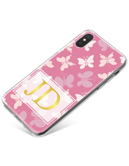 White and Purple Butterflies with Gold Writing phone case available for all major manufacturers including Apple, Samsung & Sony