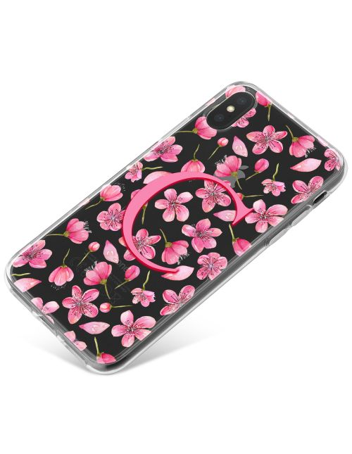 Flurry of Pink Flowers around an Initial phone case available for all major manufacturers including Apple, Samsung & Sony