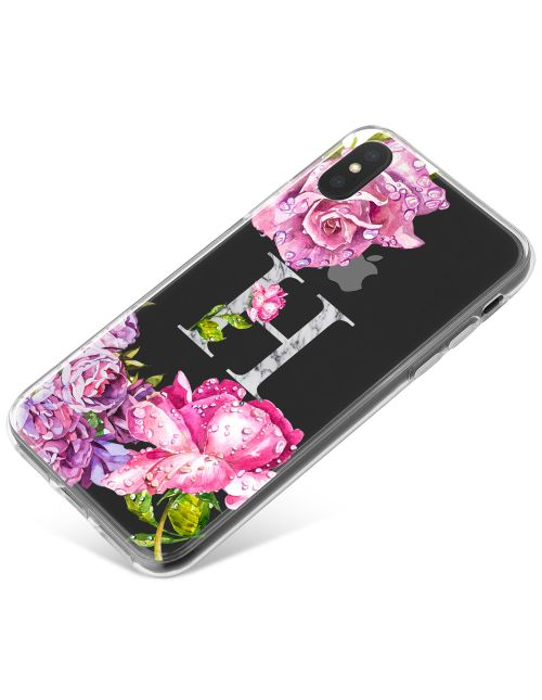 Realistic Pink Flowers around an Initial phone case available for all major manufacturers including Apple, Samsung & Sony