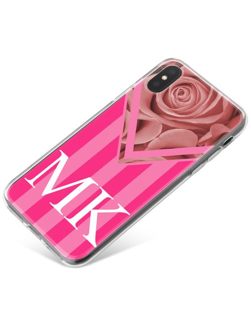 Pink Stripes with Rose phone case available for all major manufacturers including Apple, Samsung & Sony
