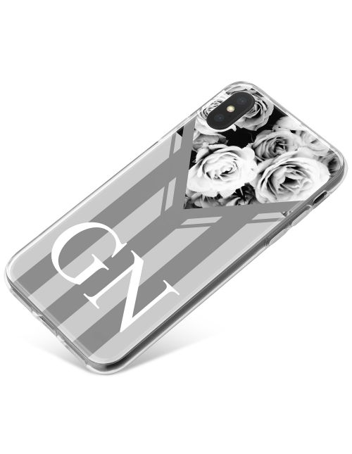 Grey Stripes with Flowers phone case available for all major manufacturers including Apple, Samsung & Sony