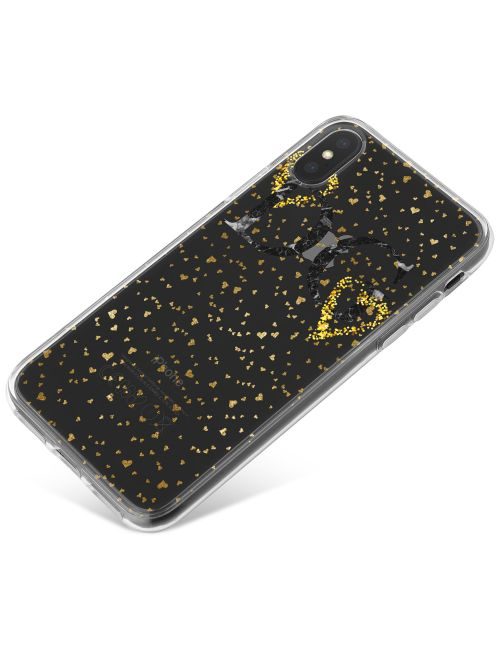 Transparent with Gold Love Hearts phone case available for all major manufacturers including Apple, Samsung & Sony