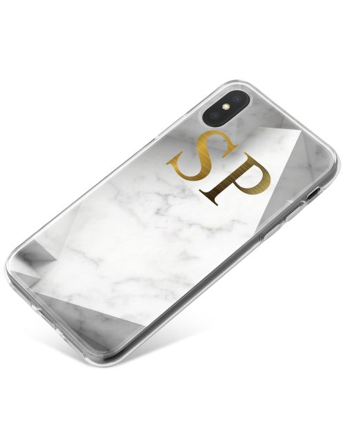 White Marble with Grey Shaded Borders phone case available for all major manufacturers including Apple, Samsung & Sony