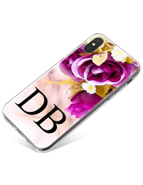 Purple Flowers with Golden Leaves phone case available for all major manufacturers including Apple, Samsung & Sony