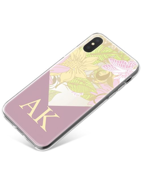 Wallpaper-like Floral Pattern with Purple Border phone case available for all major manufacturers including Apple, Samsung & Sony