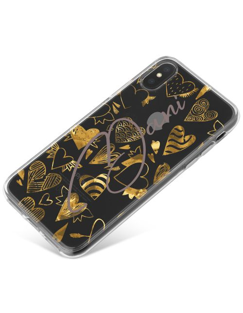 Gold Hearts with Different Patterns phone case available for all major manufacturers including Apple, Samsung & Sony