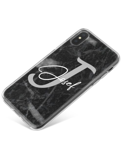 Charcoal Grey with Name and Initial phone case available for all major manufacturers including Apple, Samsung & Sony
