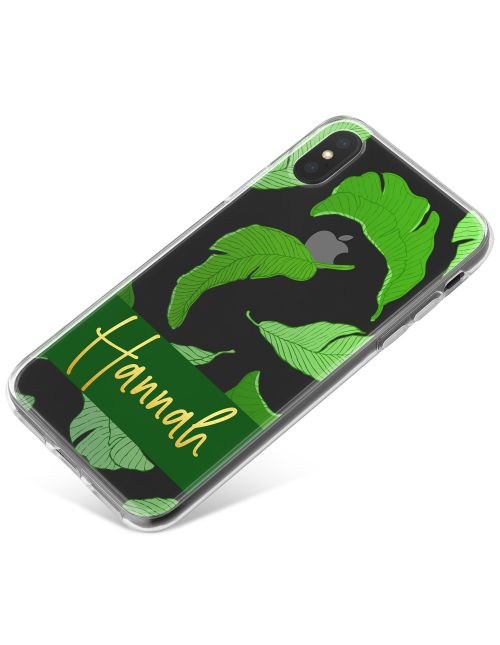 Transparent with Green Leaves phone case available for all major manufacturers including Apple, Samsung & Sony