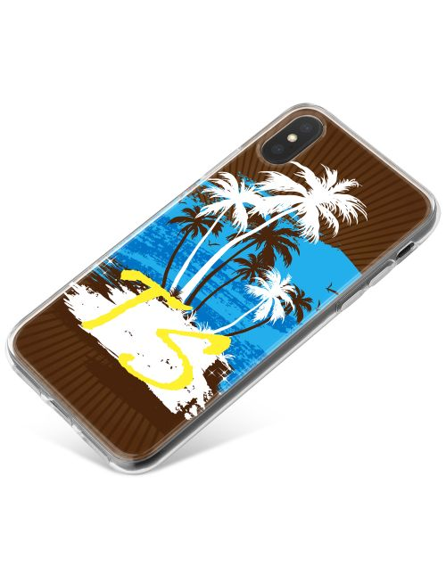 White and Brown Palm Trees with Blue Centre phone case available for all major manufacturers including Apple, Samsung & Sony