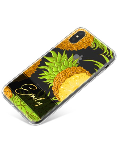 Transparent with Pineapples phone case available for all major manufacturers including Apple, Samsung & Sony