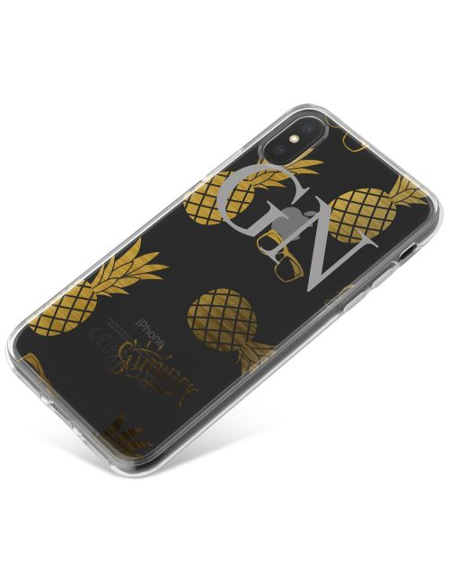 Transparent with Gold Pineapples and Sunglasses phone case available for all major manufacturers including Apple, Samsung & Sony