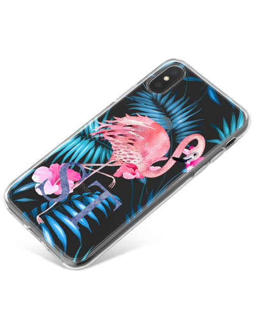 Pink Flamingo with Blue Leaves phone case available for all major manufacturers including Apple, Samsung & Sony