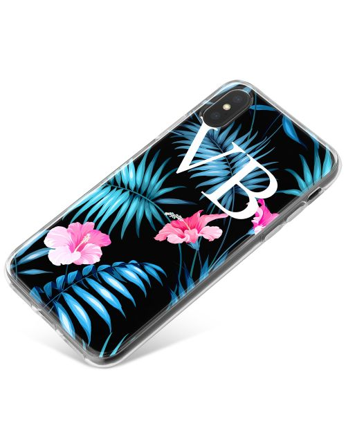 Electric Blue Leaves with Pink Flowers phone case available for all major manufacturers including Apple, Samsung & Sony
