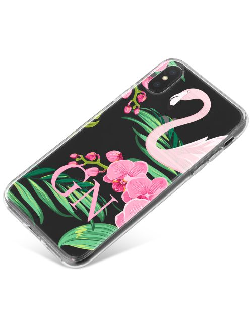 Flamingo Amongst Pink and Green Leaves phone case available for all major manufacturers including Apple, Samsung & Sony