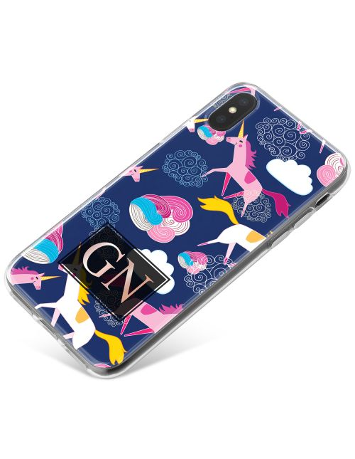 Multi-coloured Unicorns and Clouds phone case available for all major manufacturers including Apple, Samsung & Sony