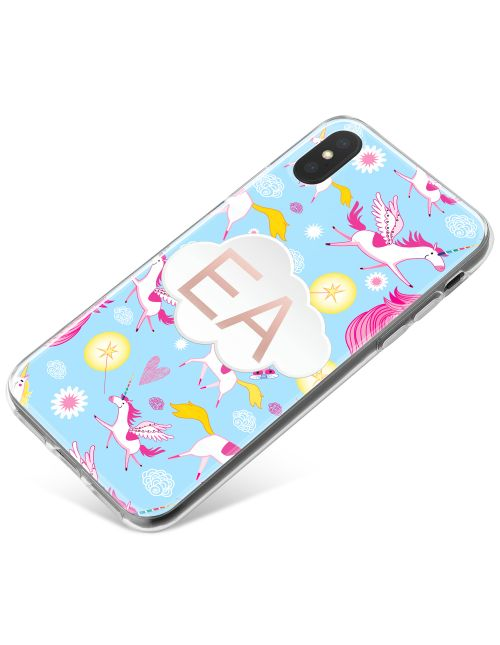 Cartoon Unicorns on a Blue Background phone case available for all major manufacturers including Apple, Samsung & Sony