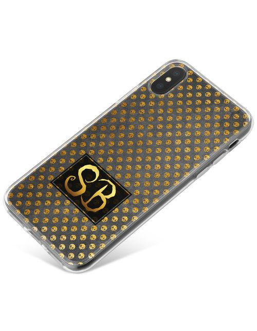 Golden Skulls on a Clear background phone case available for all major manufacturers including Apple, Samsung & Sony