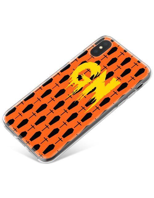 Black Graves on a bright Orange Background with Yellow Text phone case available for all major manufacturers including Apple, Samsung & Sony