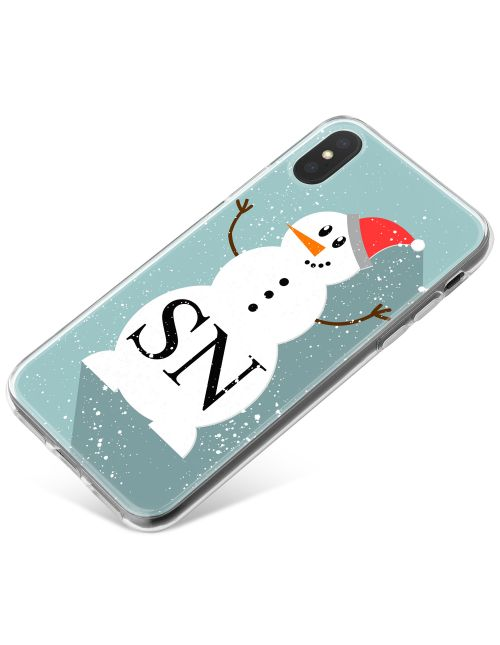 Beautiful Snowman with Santa Hat on a blue background phone case available for all major manufacturers including Apple, Samsung & Sony