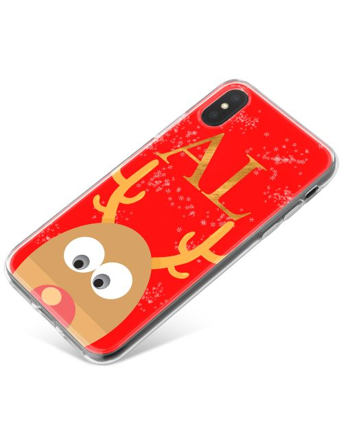 Peeking Rudolph on a Red Background phone case available for all major manufacturers including Apple, Samsung & Sony