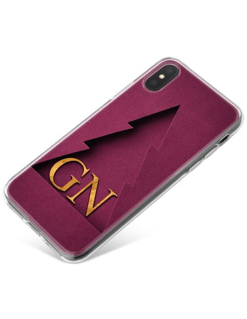 Burgundy Christmas Tree Outline with Shadow and Gold Text phone case available for all major manufacturers including Apple, Samsung & Sony
