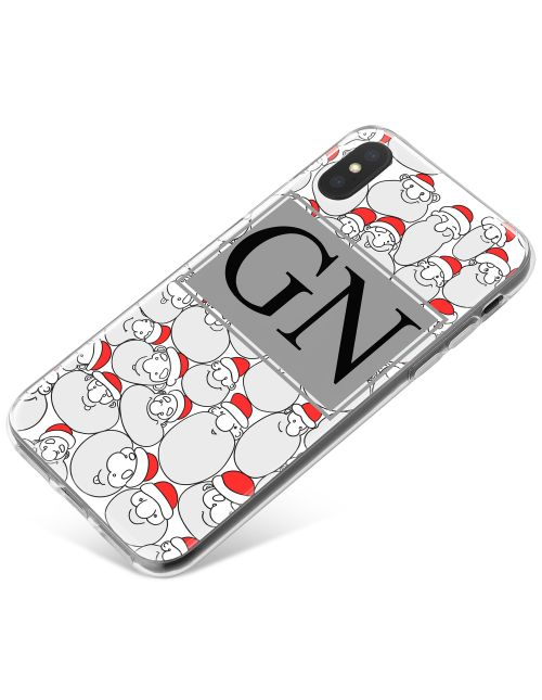 Santa Pattern with Black Initials phone case available for all major manufacturers including Apple, Samsung & Sony