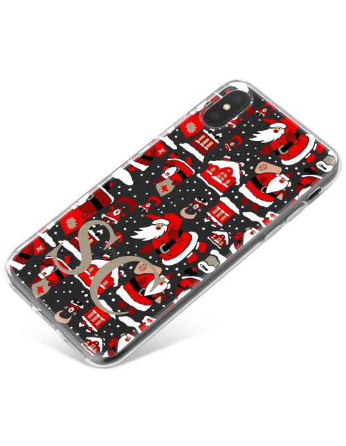 Winter Santa Pattern with Snow on Clear Background phone case available for all major manufacturers including Apple, Samsung & Sony