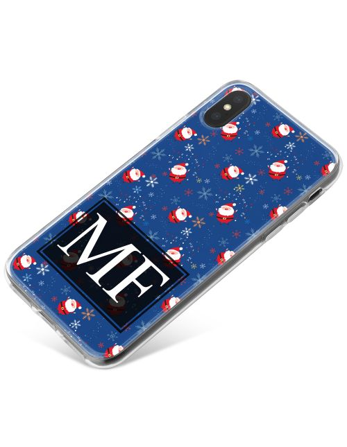Cute Santa Pattern with Snowflakes on a Blue Background  phone case available for all major manufacturers including Apple, Samsung & Sony