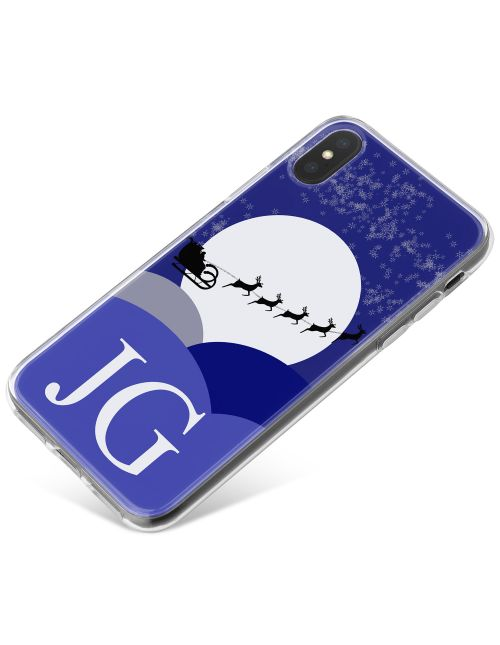 Santa Sleigh Silhouette at Christmas Night with White Initials phone case available for all major manufacturers including Apple, Samsung & Sony