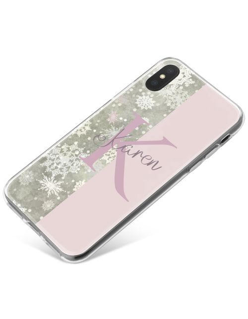 Half Snow Grey Pattern, Half Light Pink Signature phone case available for all major manufacturers including Apple, Samsung & Sony