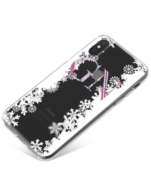 White Snowflake Borders and Pink Stripy Initials phone case available for all major manufacturers including Apple, Samsung & Sony