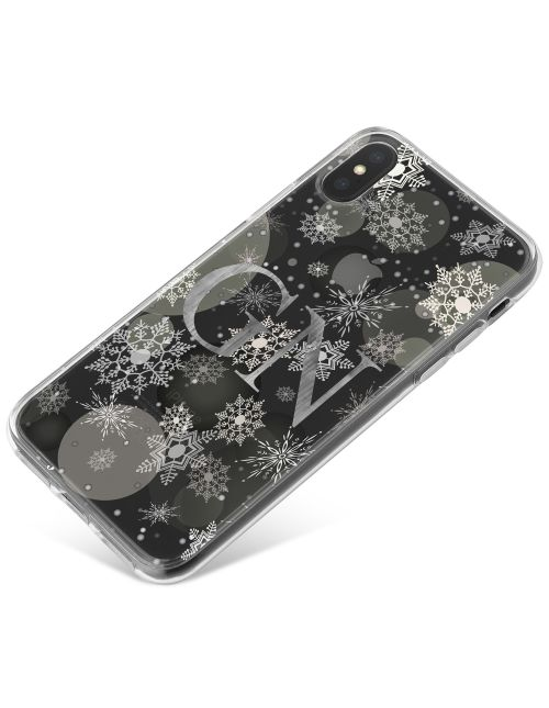 Transparent Silver Snowflakes and Baubles Pattern with Grey Initials phone case available for all major manufacturers including Apple, Samsung & Sony