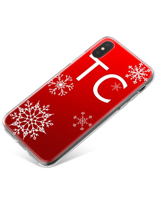 Christmas Snowflakes on Deep Red Background phone case available for all major manufacturers including Apple, Samsung & Sony