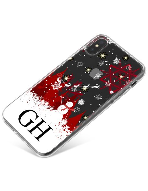White & Red Winter Scenery with Santa and Snowman phone case available for all major manufacturers including Apple, Samsung & Sony