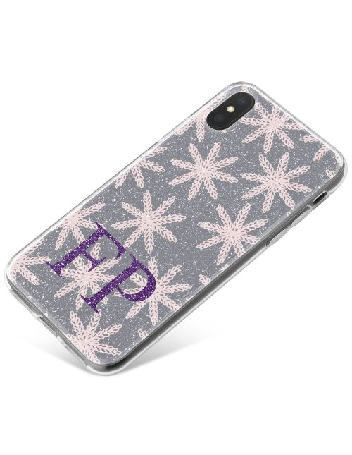 Woolen Snowflakes on Grey Background with Purple Initials phone case available for all major manufacturers including Apple, Samsung & Sony